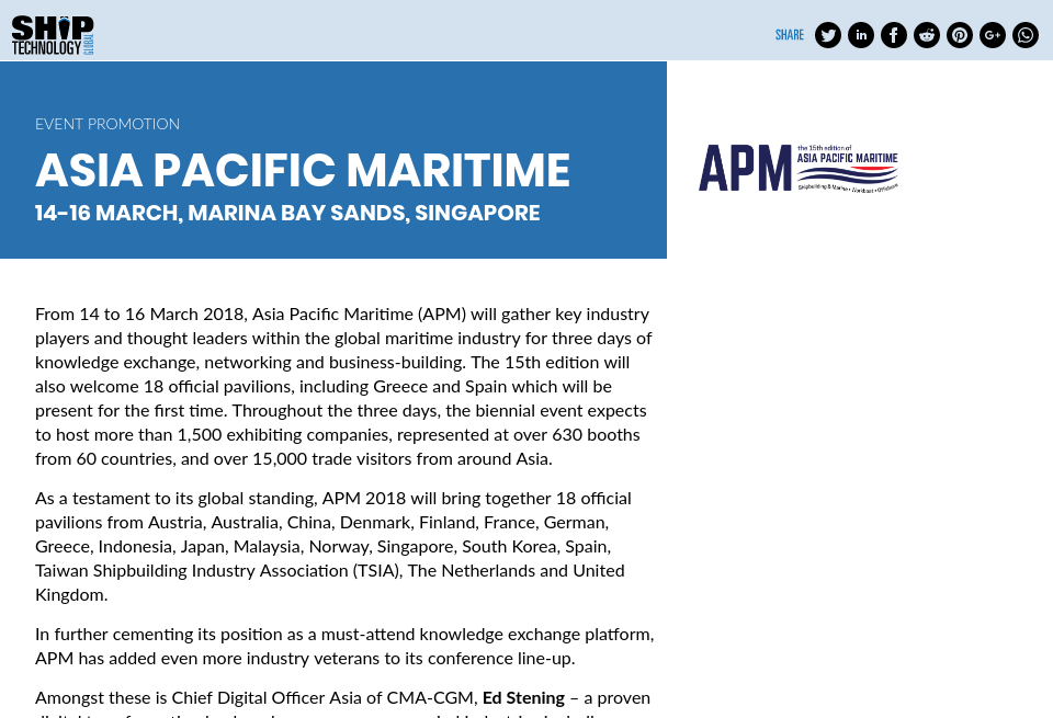 Event: Asia Pacific Maritime - Ship Technology Global | Issue 52